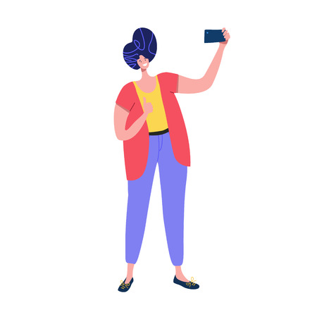 Man pose, smile and taking selfie for social media holding camera in hand. Gadget party vector illustration Ilustração