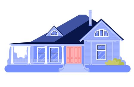 House simple cartoon icon. Cottage exterior. Home illustration isolated on white background vector