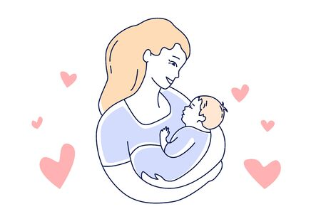 Mother and childMom is looking at the baby with love. hand drawn style vector illustration Illustration