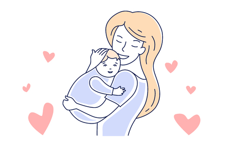 Mother and baby. Motherhood love. Mom hugging a child hand drawn style vector illustration