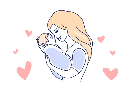 Motherhood. Mother love and child. Mom looking at the baby hand drawn style vector illustration