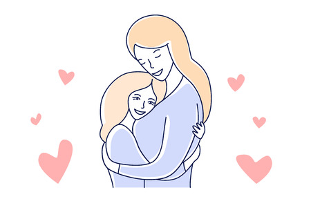 Mother and daughter. Motherhood love. Mom hugging a kid hand drawn style vector illustration
