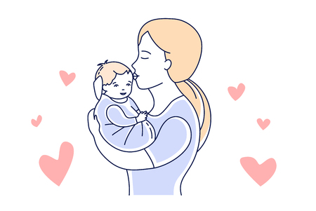 Motherhoodlove. Mother and child. Mom looking at the baby hand drawn style vector illustration