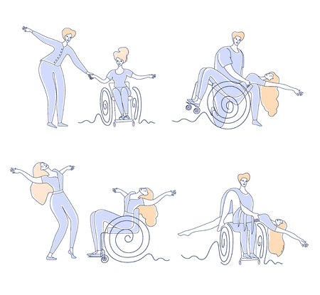 Wheelchair dance club. Men and women with disabilities sport leisure. Disabled people dancing simple line vector illustration set isolated on white background