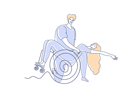 Wheelchair dance club. Disabled people sport leisure. Man and woman couple with disabilities dancing simple line vector illustration isolated on white background
