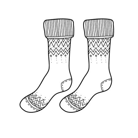 Black engraved socks drawing. Winter warm Christmas garment for the foot ink hand drawn style vector illustration isolated on white Illustration