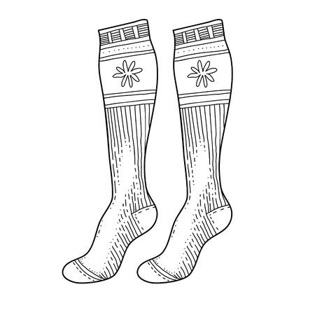 Dessin de chaussettes noires gravées. Bas de Noël chauds d'hiver encre illustration vectorielle de style dessinés à la main Vecteurs