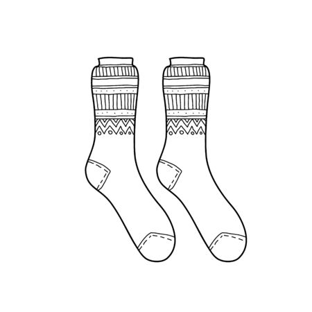 Black engraved socks drawing. Winter warm Christmas garment for the foot ink hand drawn style vector illustration isolated on white Foto de archivo - 127968802