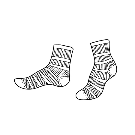 Black engraved textile socks drawing. Short cotton garment for the foot ink hand drawn style vector illustration Illustration
