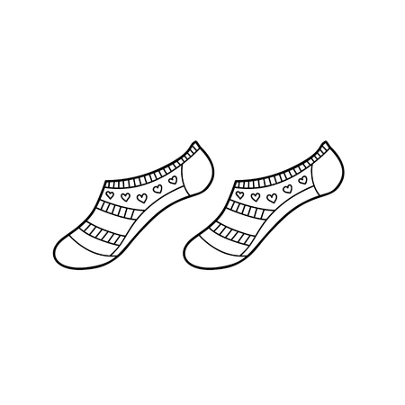 Black engraved low female socks drawing. Short woman garment for the foot ink hand drawn style vector illustration