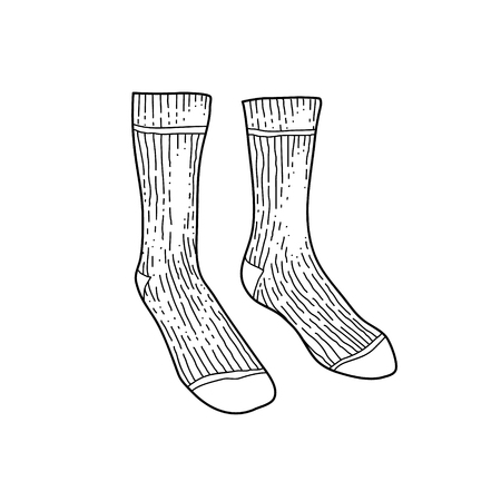 Black engraved textile socks drawing. Man cotton garment for the foot ink hand drawn style vector illustration Ilustração