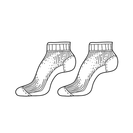 Black engraved textile socks drawing. Short cotton garment for the foot ink hand drawn style vector illustration Ilustração