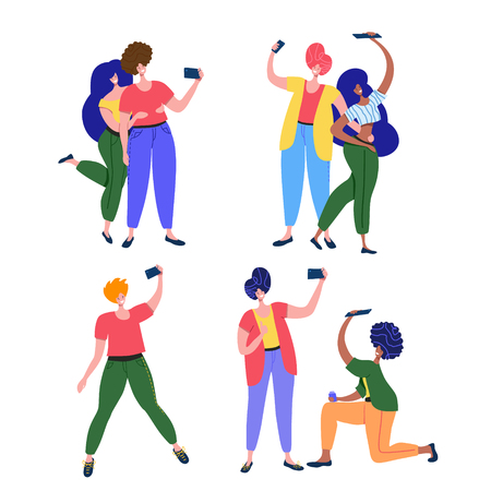 Friends and couples pose, smiling and taking selfie for social media, using selfie stick or holding camera in hand. Friendship Day gadget party vector illustration