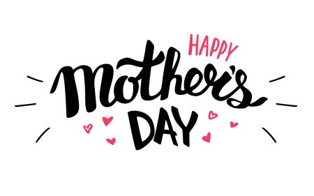 Happy Mothers day text for lettering card vector illustration isolated on white background