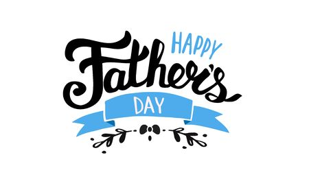 Happy Fathers day text for lettering card vector illustration isolated on white background