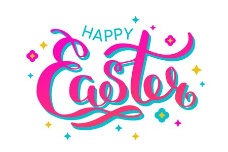 Happy Easter colorful lettering card. Festive hand drawn vector illustration on white background