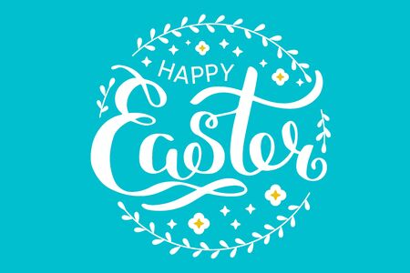 Happy Easter white lettering with wreath. Festive hand drawn vector illustration on turquoise background Ilustrace