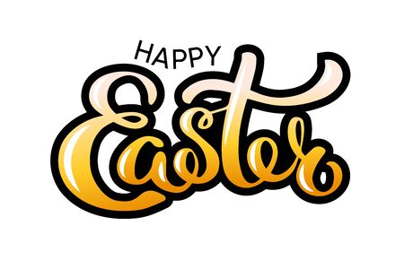 Happy Easter colorful lettering card. Festive hand drawn sticker on white background vector illustration Foto de archivo - 143181749