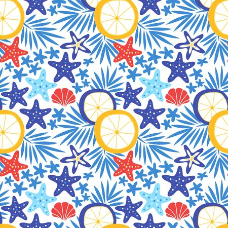 Summer seamless pattern with sea star, shell, sun umbrella and tropical leaves. Starfish background vector illustration Ilustrace