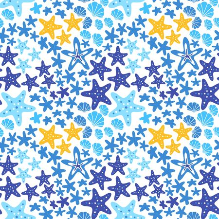 Sea star marine seamless pattern with shell. Starfish blue background vector illustration