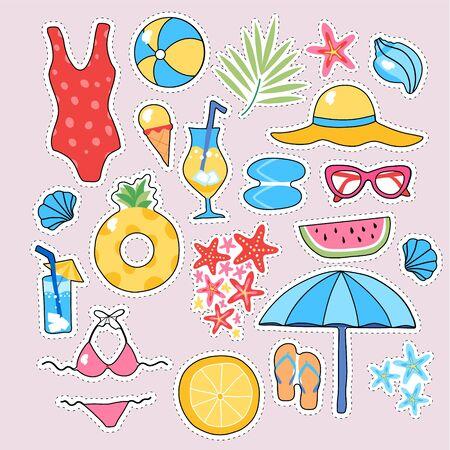 Summer trendy sticker set sea star, sun umbrella, sunglasses, swimsuit, cocktail, hat, flip flops vector illustration