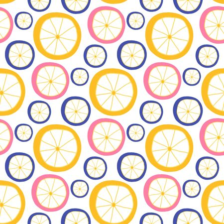 Citrus slice retro seamless pattern. Lemon vector illustration Vectores