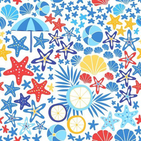 Marine seamless pattern with sea star, shell, sun umbrella and tropical leaves. Starfish background vector illustration Foto de archivo - 145670885