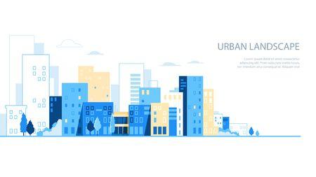 Urban landscape. City skyline background. Buildings silhouette vector illustration Vectores