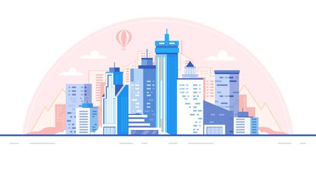 City skyline background. Buildings silhouette. Urban landscape for animation vector illustration Ilustrace