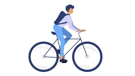 Racing cyclist. Man riding a bicycle vector illustration isolated on white Foto de archivo - 145180757