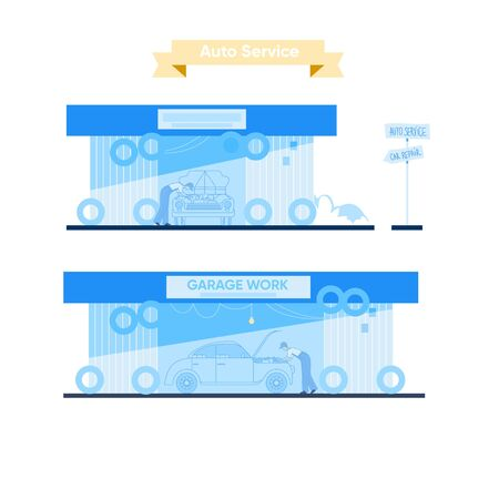 Garage work. Maintenance car station. Service worker fixing a car near open hood. Automobile repair shop vector illustration