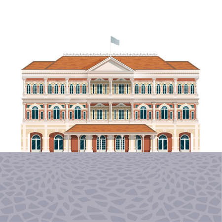 House building icon, luxury hotel detailed illustration, administrative classic exterior design, front view, architecture facade isolated