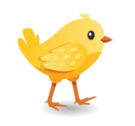 Cute yellow bird. Hen kid. Cartoon chick icon for farm vector