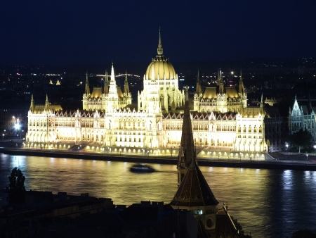 Hungarian parliament at night photo