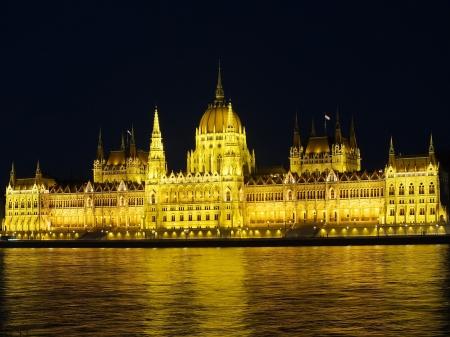 Hungarian parliament at night photo