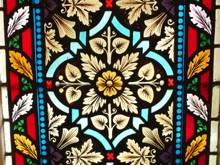 Ancient stained glass window