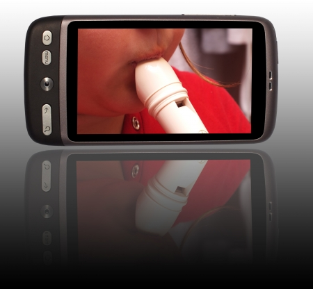 Smartphone with instrument on the screen photo