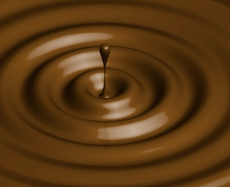 A big drop of chocolate with waves