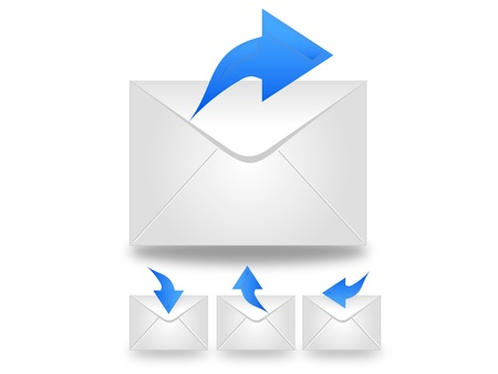 envelop: Message in white envelop with blue arrow