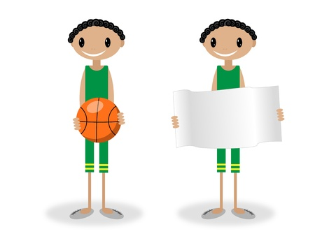 Illustration of a boy holding a basketball ball and the other is do the same with a plat Vector