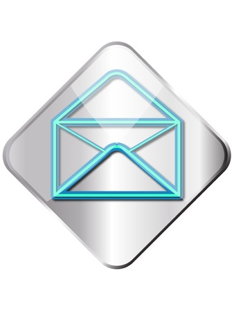contact details: Metal shining square email symbol button  Illustration