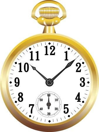 puntualidad: Reloj de bolsillo de oro Vectores