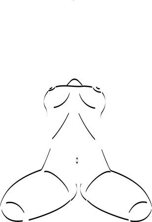 nude woman standing: Sketch of woman torso Illustration