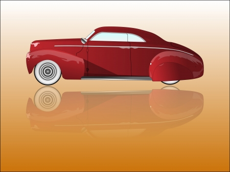 car tuning: Mirrored old car Illustration
