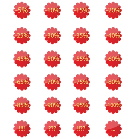 Set of red stickers with different percentages off Stock Vector - 15731782