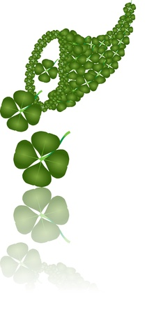 Cornucopia of Fortune goddess with four leaf clover Stock Photo