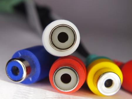 Audio and video cables and RCA connectors Stock Photo - 18712460