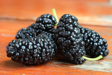 Mulberries on a wooden table - fruit photography Stock Photo - 20233906