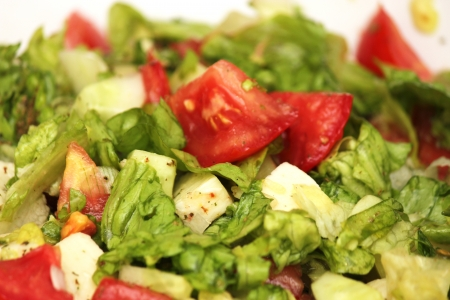 Fresh vegetable salad with tomato and cucumber  Stock Photo