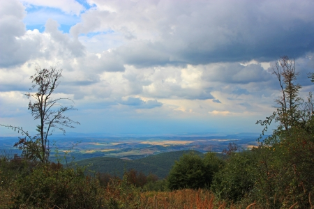 Hungarian landscape with mountain and forest - Hungary, Szarvasko Stock Photo